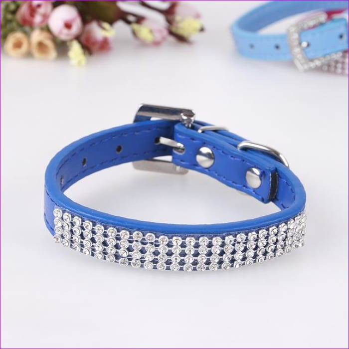 7 Color Pink Blue Rhinestones Dog Collar Sparkly Crystal Studded PU Leather Bling Pet Collars for Women Girl Small Large Dogs - blue / L -