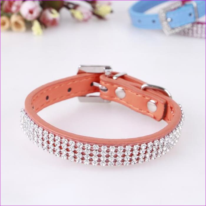 7 Color Pink Blue Rhinestones Dog Collar Sparkly Crystal Studded PU Leather Bling Pet Collars for Women Girl Small Large Dogs - organe / L -