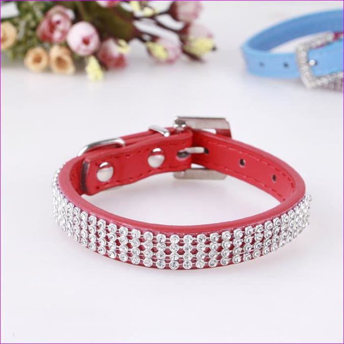 7 Color Pink Blue Rhinestones Dog Collar Sparkly Crystal Studded PU Leather Bling Pet Collars for Women Girl Small Large Dogs - red / L -