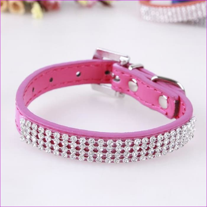 7 Color Pink Blue Rhinestones Dog Collar Sparkly Crystal Studded PU Leather Bling Pet Collars for Women Girl Small Large Dogs - rose red / L