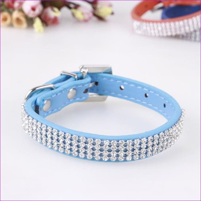 7 Color Pink Blue Rhinestones Dog Collar Sparkly Crystal Studded PU Leather Bling Pet Collars for Women Girl Small Large Dogs - sky blue / L