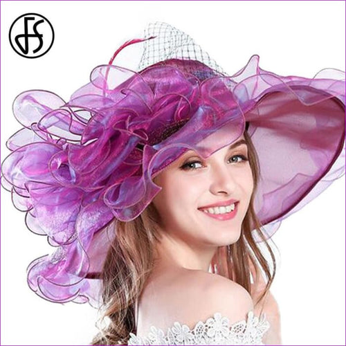 9 Colors Organza Sun Hats For Women Elegant Hat Wide Large Brim With Big Flower - Beach Hats Beach Hats cf-color-blue cf-color-brown