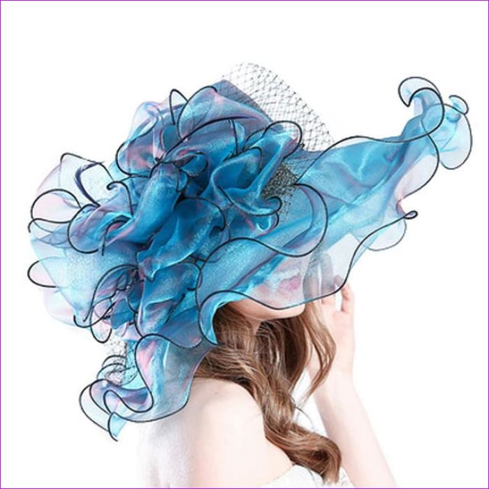 9 Colors Organza Sun Hats For Women Elegant Hat Wide Large Brim With Big Flower - Blue - Beach Hats Beach Hats cf-color-blue cf-color-brown