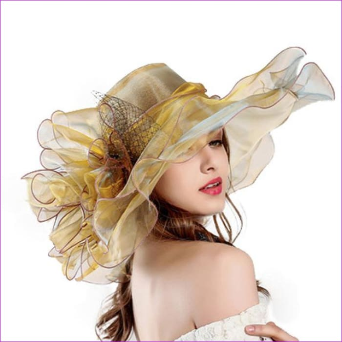 9 Colors Organza Sun Hats For Women Elegant Hat Wide Large Brim With Big Flower - Gold - Beach Hats Beach Hats cf-color-blue cf-color-brown