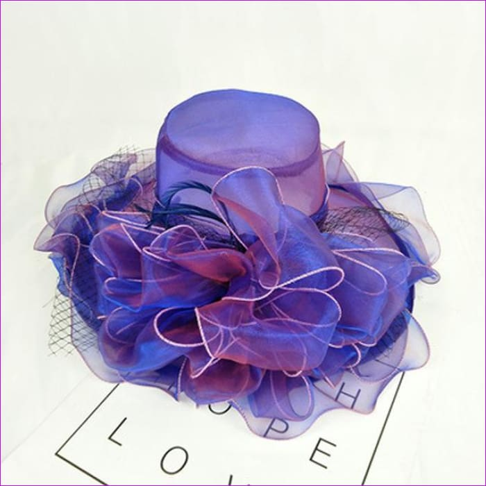 9 Colors Organza Sun Hats For Women Elegant Hat Wide Large Brim With Big Flower - Purple - Beach Hats Beach Hats cf-color-blue
