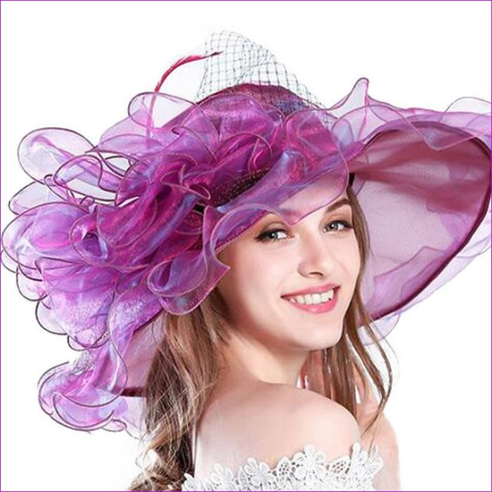 9 Colors Organza Sun Hats For Women Elegant Hat Wide Large Brim With Big Flower - Rose Purple - Beach Hats Beach Hats cf-color-blue