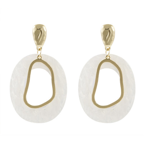 White Resin Geometric Bling Drop Earrings Hollow Big Earrings Jewelry