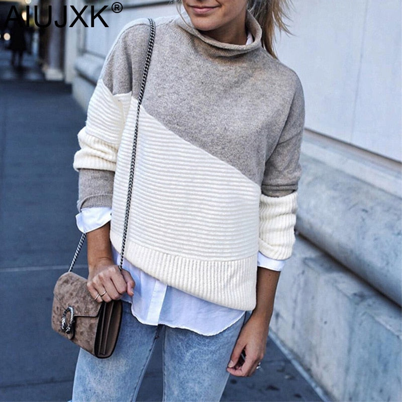 Patchwork Turtleneck Pullover Women Knitwear Autumn Winter Sweaters