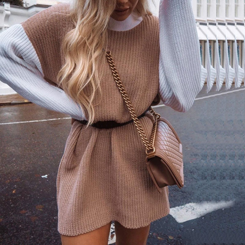 Lantern Sleeve Autumn Knitted Patchwork Sweater  Pullover Pink