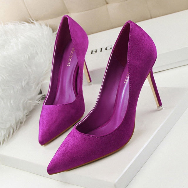 Purple Bridal Flock pumps wedding shoe purple Red