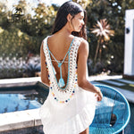 Backless V-neck Cut Out Beach Dress Bathing Suit Beachwear