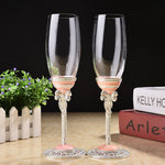 Pink crystal ename wedding champagne red wine bride groom Toasting Goblet