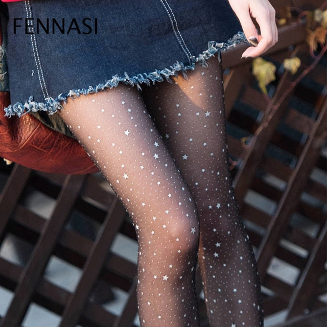 Bling Star Tights Mesh Pantyhose Nylons Lady Slim Fishnet