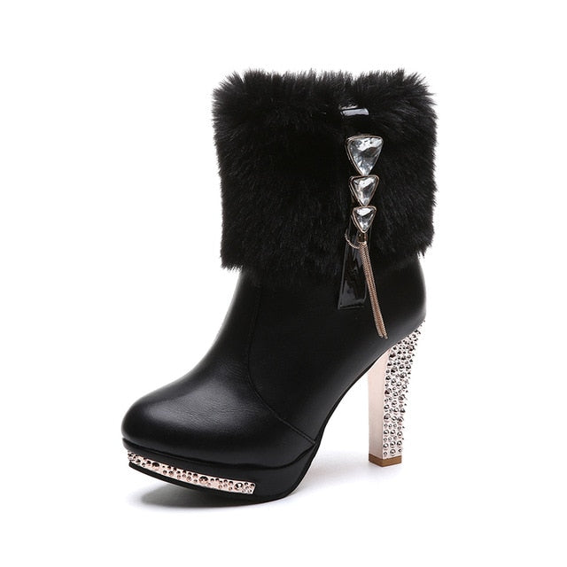 Fashion Extreme High Heel Martin Boots Sexi Designer Boots Women Beige Fur Boots Female Ankle Boots Rhinestone Bling Bling Boots