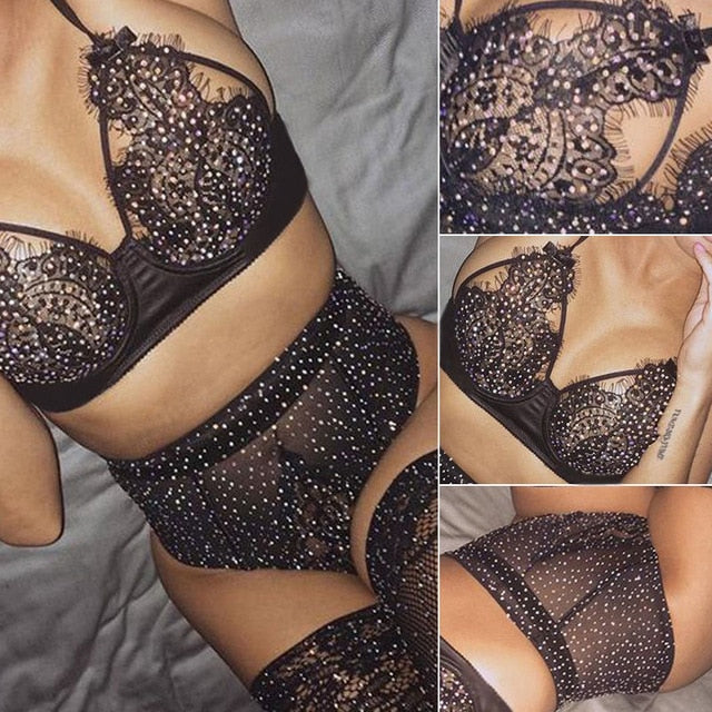 Black Womens Lace Lingerie Set Bling Bling Nightwear