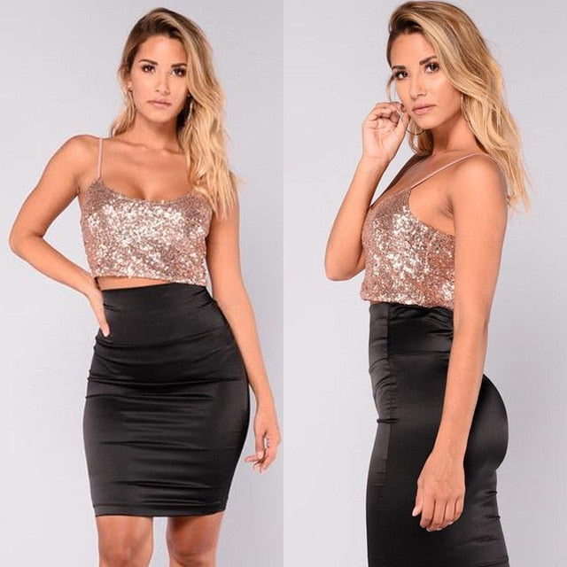 Bling Shiny  Sequins  Sleeveless Tank Top Casual Loose Crop Top