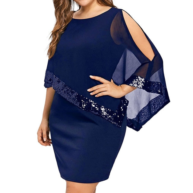 Plus Size Cold Shoulder Overlay Chiffon O-Neck Sequins Bling Sundress