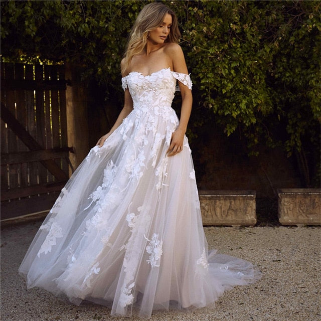 Off the Shoulder Appliques A Line Bride Dress Princess Wedding Gown Free Shipping