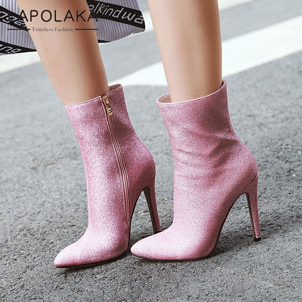 Lapolaka Fashion New Plus Size 33-46 Bling Boots Women Shoes Woman Thin High Heels Zip Up Pointed Toe Party Shoes Woman Boots