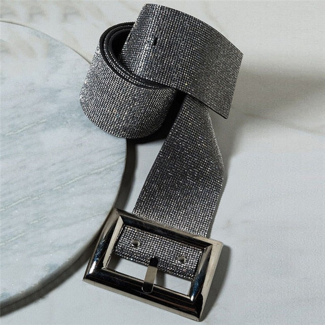 Bling Crystal Diamonds Nightclub Waist Belts Sexy Wide Long Belt