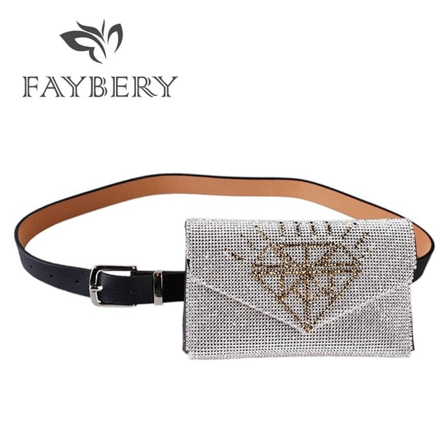 Rhinestones Women Bag Belts Bright Crystal Diamond Waist Belt