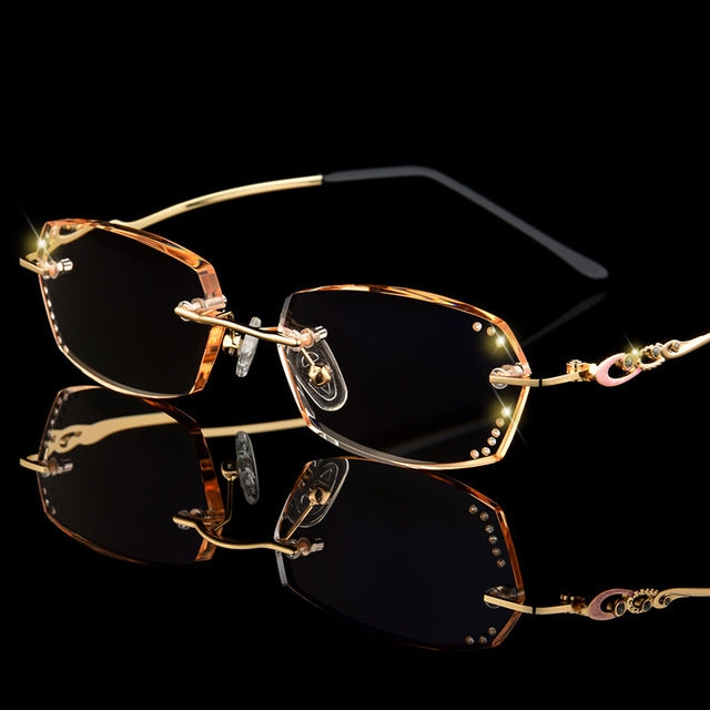Rhinestone Bling Reading Glasses Rimless Golden Readers Presbyopic Eye Glasses