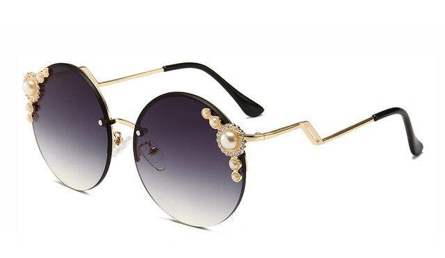 Round Crystal Sunglasses Brown Rhinestone Rimless Shades UV400