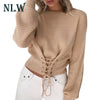 Knitted Pullovers Long Sleeve O Neck Loose Jumper Top Bandage Sweater Lace Up Crop