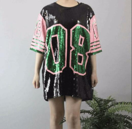 Bling T-shirt Half Sleeve Hip Hop T-shirt Dress Sequins T Shirt