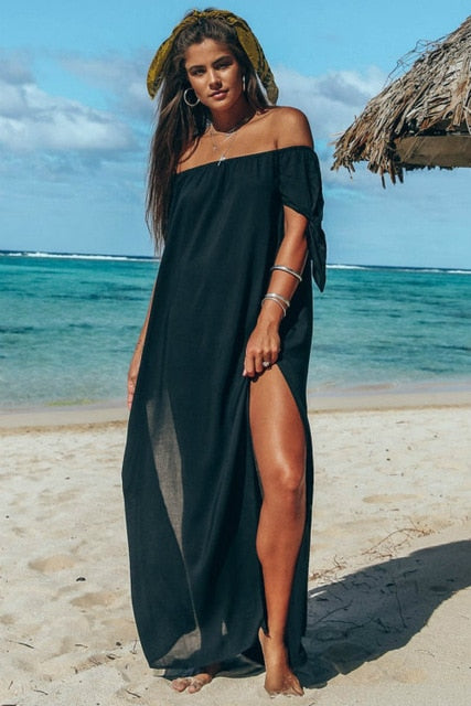 Beach Long Dress Off Shoulder Solid Color Cover Up Skirt