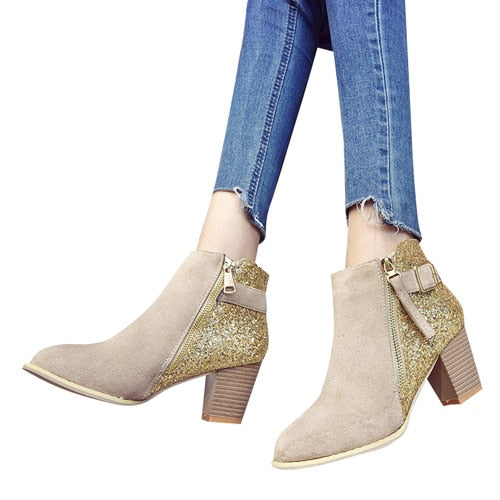 Parkside Wind Flock Women Boots Round Toe Side Zipper Ankle Boots Mixed Colors Med Heels Shoes Autumn Bling Boots XWC2464-45