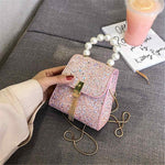 Pearl Tote bag PU Leather Handbag Chain Bling Evening Shoulder Bags Small Purses