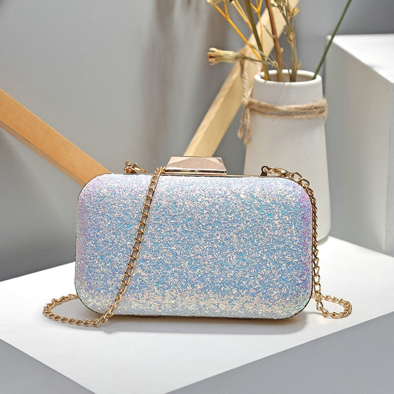 Evening  Bling Gold Clutch Bag Purses y Blue/Pink Diamond Rhinestone Clutches
