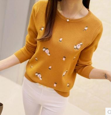 Peach Embroidery Slim Girl's Knitted Pullover Tops  S-3XL  Women's Sweater