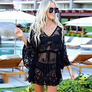 Bikini Cover-Up Long Sleeves Beach Lace Beach Wear Women Sheer