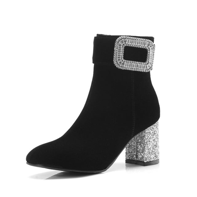 Sexy Office Lady High Heel Boots Bling Crystal Ankle Boots Fashion Warm Shoes Women Winter Fashion Shoes Size 34-43
