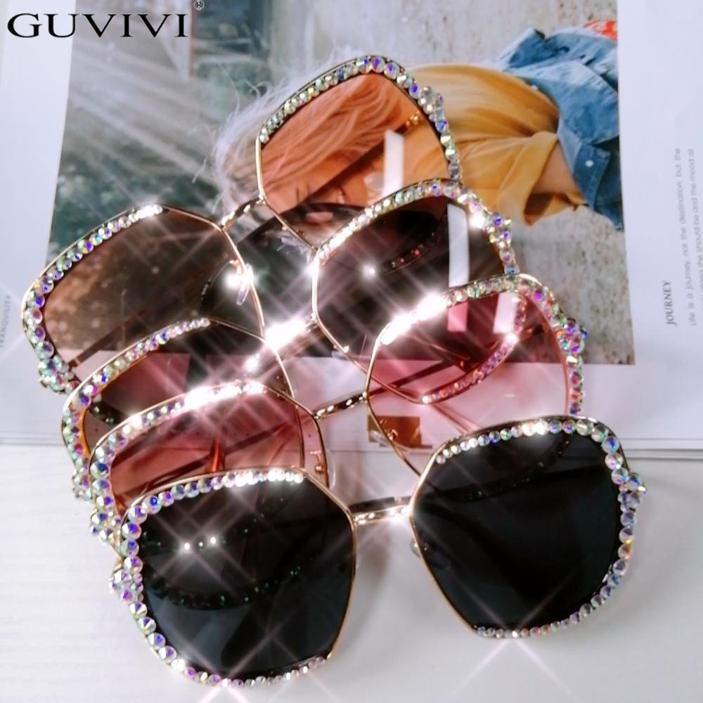 Bling Rhinestone Sunglasses Crystal Mirror Lens Square Sun Glasses