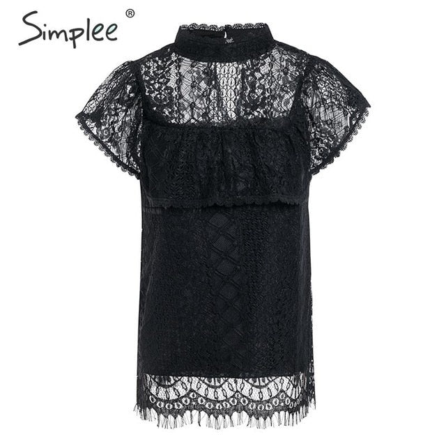 Flash Sale O neck lace hollow out women blouse shirt Embroidery ruffle lining