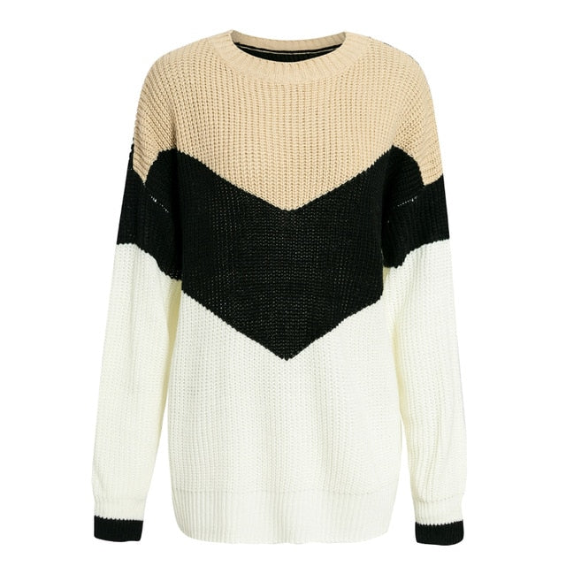 Stripe Knitted Winter Sweaters Jumper Ladies Patchwork Pullovers Chic O neck Style