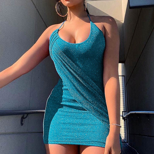Bling Spaghetti Strap Backless Dresses Women Sleeveless Sheath Mini Dress