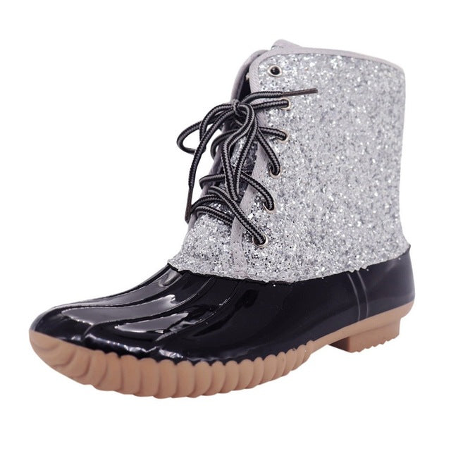 Sparkling Glitter Boots Women Casual Waterproof Lace-up Round Toe Waterproof Ankle Snow Boots ladies Shoes botas feminina