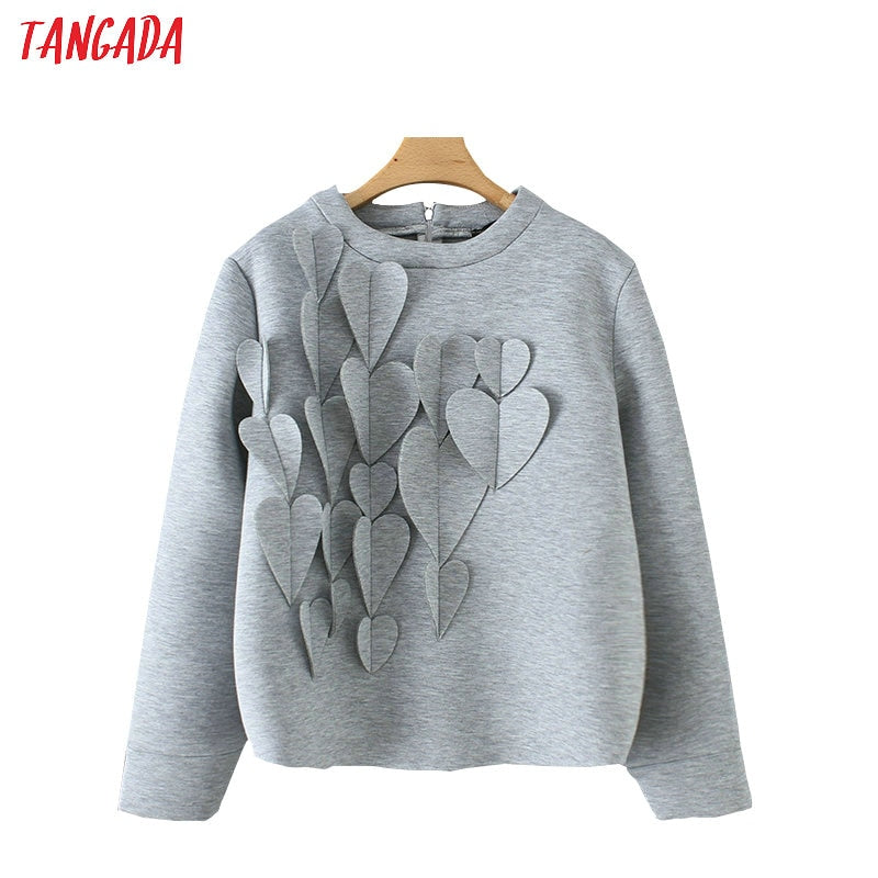 Hearts appliques sweatshirt oversize long sleeve back zipper casual tops