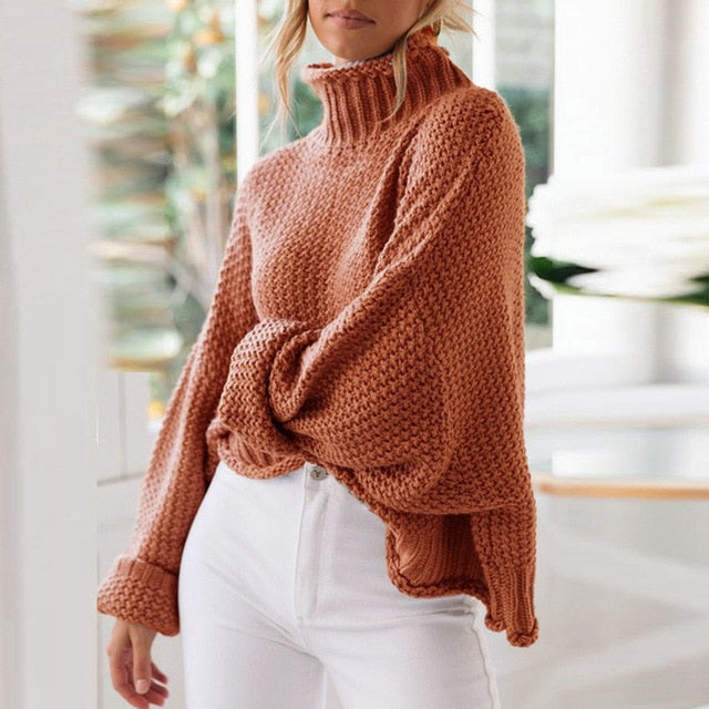 Turtleneck Pullover sweaters Winter Sweaters Knitted solid color l