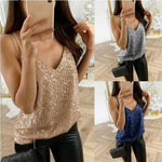 Glitter Tank Tops Sexy V-Neck Knitted Camisole Sleeveless Bling tops