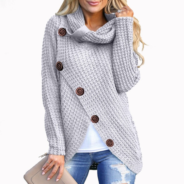 Long Sleeve Knitted Solid Top Turn-down Collar Buttons Ladies Outerwear