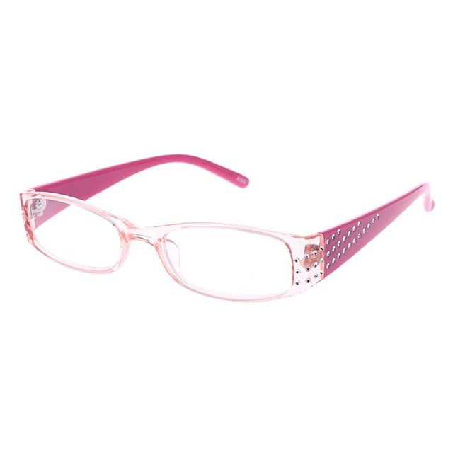 Bling Bluev Frame  Reading Glasses Rectangular Frame Spring Hinges Rhinestone
