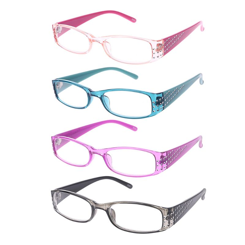 Bling Pink Frame  Reading Glasses Rectangular Frame Spring Hinges Rhinestone