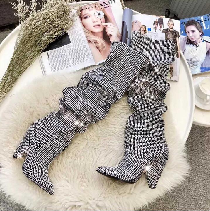 Women Luxury Bling Boots Niki Slouch Crystal-Embellished Leather Knee Booties Covered Cone Heels Diamonds Pointed Toe Botas