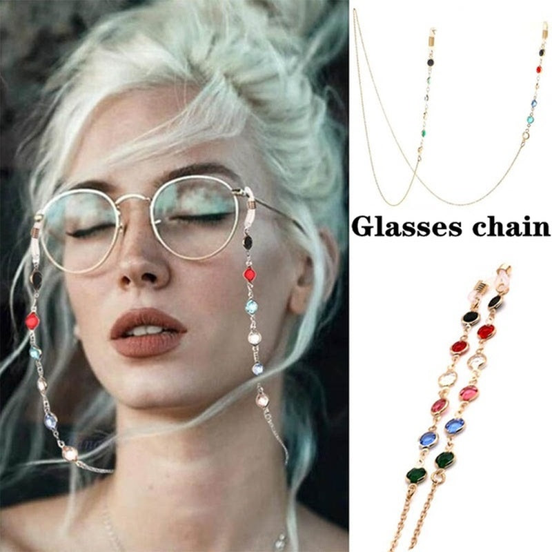 Crystal  Eyewear Chain Holder Necklace Reading Eyeglass Strap Cord Lanyard