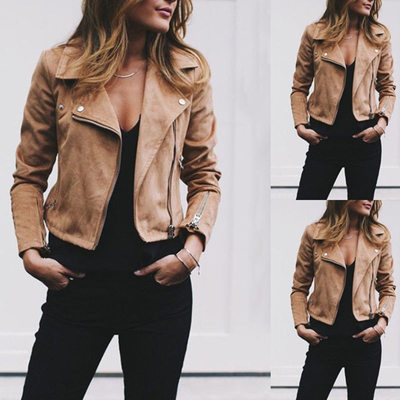 Suede Leather Jacket Coats Flight Biker Motorcycle coat S~XL Ladies black Streetwear Zipper
